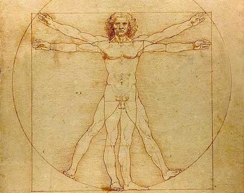 Vitruvianischer Mensch, Skizze von Leonardo